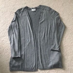 Gray open front sweater. Size L